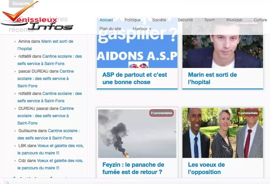 Home page de Vénissieux Infos. Capture décran