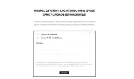 Capture d'écran site du Parti du vote blanc