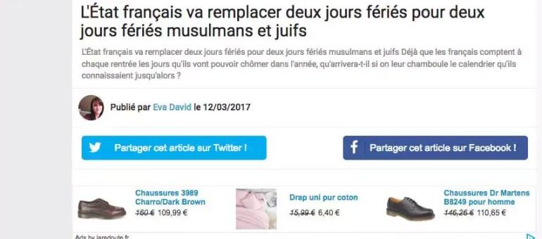 Non, l'État français ne va pas instaurer des jours fériés pour les fêtes musulmanes et juives