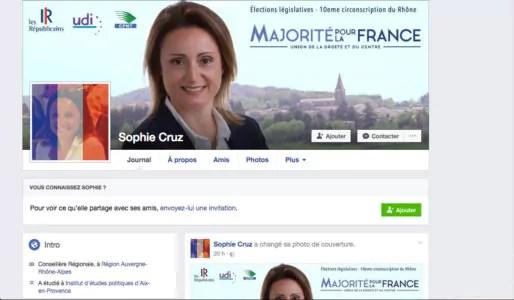 Page Facebook de Sophie Cruz, candidate LR sur la 10e circonscription