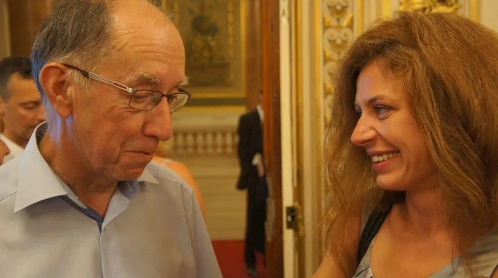 Le maire de Saint-Genis-Laval Roland Crimier et Blandine Brocard au 2ème tour des législatives à la préfecture du Rhône le 18 juin 2017. ©HH/Rue89Lyon