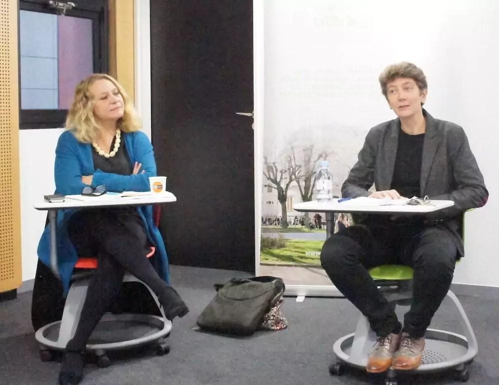 Nathalie Dompnier, présidente Université Lyon 2 (à droite), lors de la conférence de presse de rentrée le 11 octobre. ©LB/Rue89Lyon
