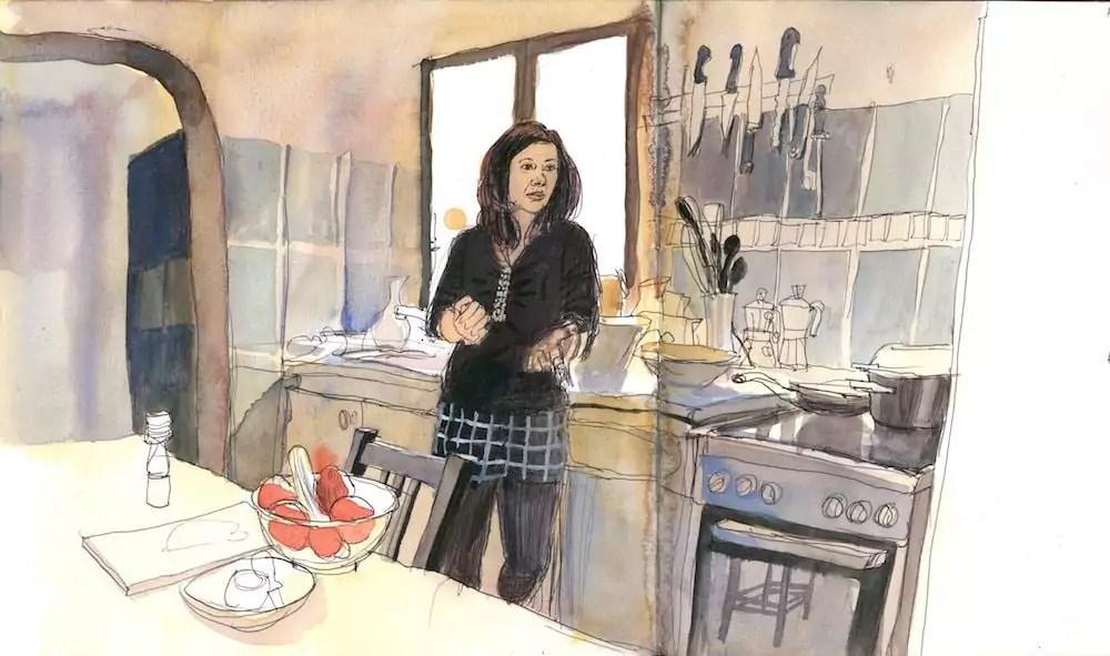 """Sadia, cuisinière afghane croqué par Emmanuel Prost. Extrait de """"Femmes d'ici, cuisines d'ailleurs""""."""