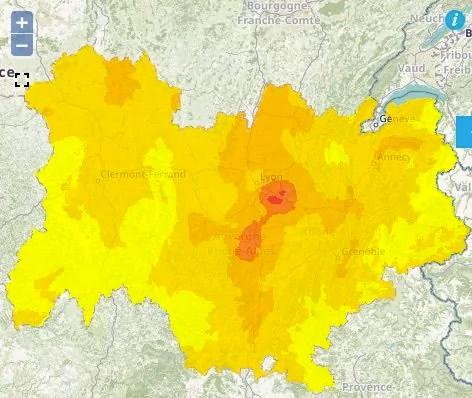 Prévision de pollution à l'ozone pour le samedi 14 juillet 2018. Capture d'écran Atmo Auvergne-Rhône-Alpes