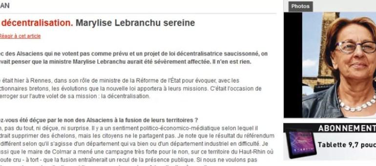 Marylise Lebranchu, «ni déçue, ni surprise» par le référendum alsacien