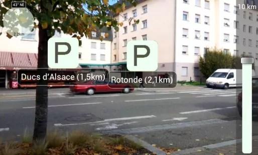 MyStrasbourgApp intègre un module de visualisation en réalité augmentée (doc remis)
