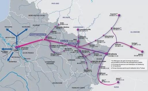 Les temps de trajet à partir de Paris avant et après le printemps 2016 - cliquez pour voir en grand (doc SNCF)