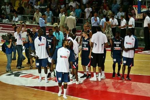 Au Rhénus Sport, l'équipe de France de basket a ses marques et ses habitudes (Photo JFG/ Rue89 Strasbourg)