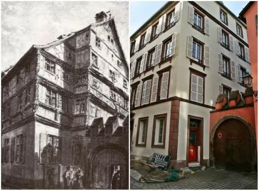 Au n°18 de la rue Sainte-Madeleine, seul le portail Renaissance subsiste (Aquarelle de Schweitzer - 1860 et photo MM / Rue89 Starsbourg)