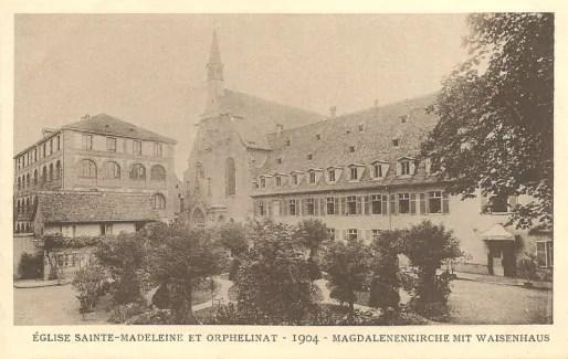 Eglise et couvent Sainte-Madeleine en 1904, avant l'incendie (Carte postale Delcampe)