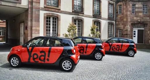 Plus besoin de réservation ni d'abonnement pour conduire les nouvelles voitures de Citiz, du nom de Yea! (Photo JFG / Rue89 Strasbourg)