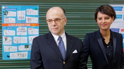 Le ministre de l'Intérieur et des Cultes Bernard Cazeneuve et la ministre de l'Education nationale Najat Vallaud Belkacem ont accompagné Manuel Valls à Strasbourg pour parler d'islam de France. Philippe Devernay/MENESR/cc