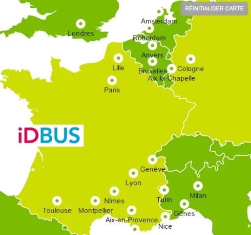 Les villes desservies par IDBus, de la SNCF.