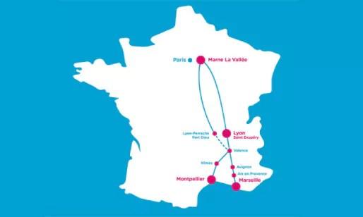 Les destinations Ouigo en France.
