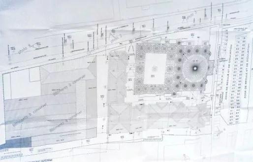 Une vue de dessus de la future mosquée Eyyub Sultan, avec les bâtiments attenants (doc remis)