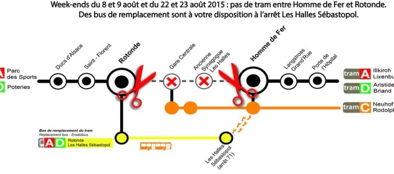 Pas de tram entre Homme de Fer et Rotonde les week-ends du 8 au 9 août et du 22 au 23 août