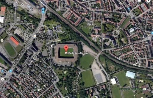 Plan du secteur autour du stade de la Meinau (Google map)