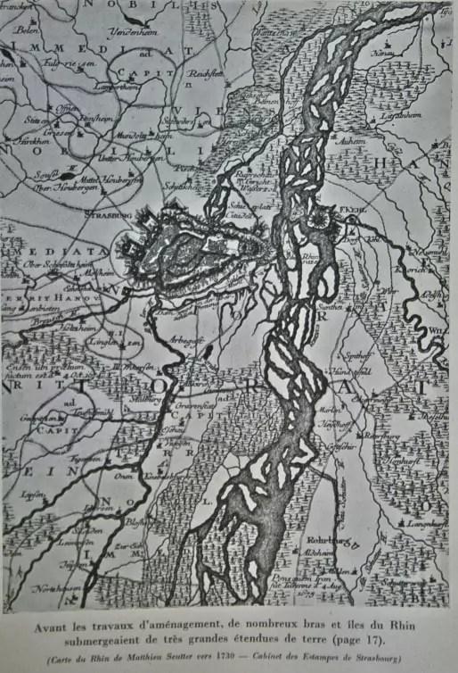 Carte des méandres du Rhin vers 1730 (Doc. PAS)