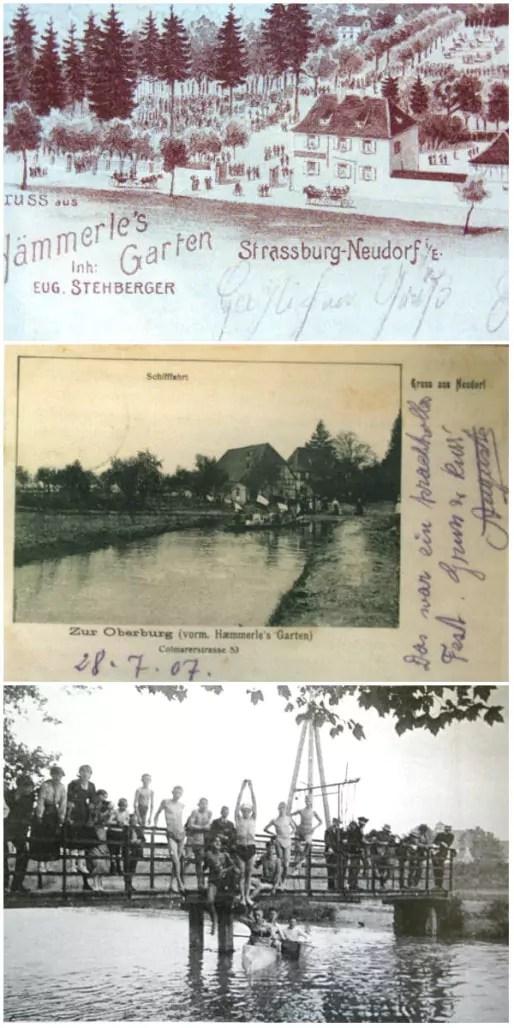 Le Jadin Haemmerlé est un parc aux portes de Strasbourg, qui longe le Petit Rhin (Krimmeri) et accueille dès les années 1900 des activités footballistiques (DR)