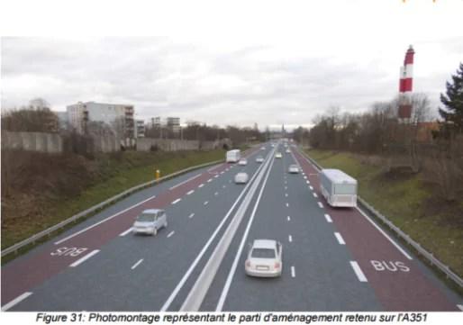 Photomontage de synthèse de la bande d'arrêt d'urgence réservée aux cars (document de l'enquête publique)