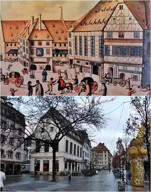 """""""La Mauresse"""", maison de commerce et siège d'une corporation puissante d'artisans, est aujourd'hui occupée par un pub et une pizzeria au début de la rue du Vieux-Marché-aux-Poissons (Illustration de 1780, in """"Il était une fois Strasbourg"""" - Photo MM / Rue89 Strasbourg)"""