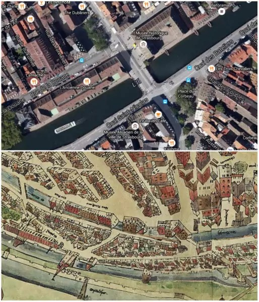 Photo aérienne de la rue de la Douane et du pont du Corbeau (Google map) - Plan Morant, 1548 (CRDP Strasbourg)