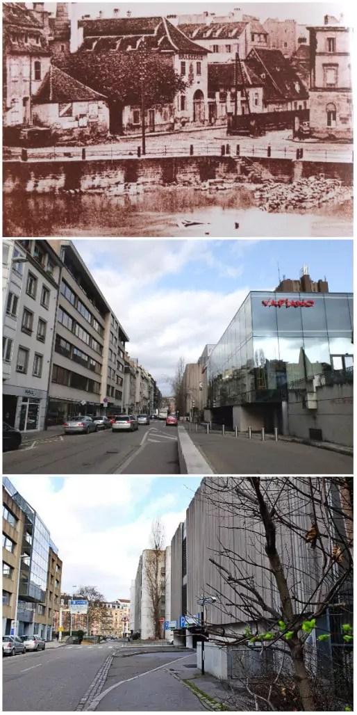 Rue du Marais-Vert, tristes façades et sorties de parkings (Doc. Roger Forst, Photos MM / Rue89 Strasbourg)