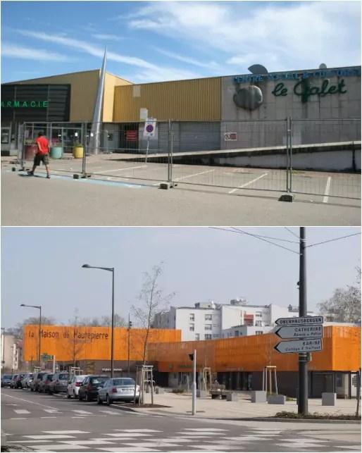 Le CSC Le Galet, en 2013 et 2016 (Photos MM / Rue89 Strasbourg)