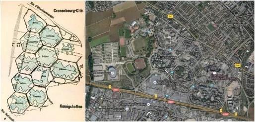 Les 11 mailles du projet originel (DR) - Les 8 mailles effectivement réalisées (Google map)