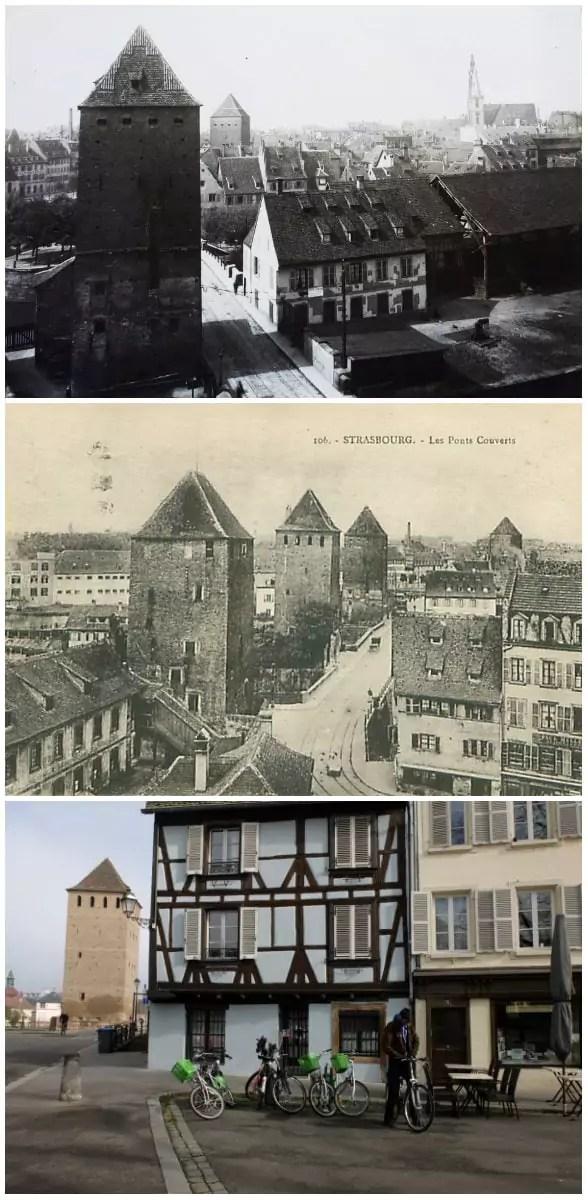 Le tram au droit de la tour des Français, au coin de la place du Quartier-Blanc et de la place Henri-Dunant (ArchiWiki - Delcampe - MM / Rue89 Strasbourg)