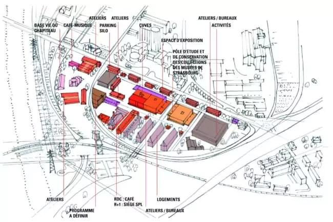 Le plan des projets de transformation des bâtiments (Alexandre Chemetoff / Doc remis)