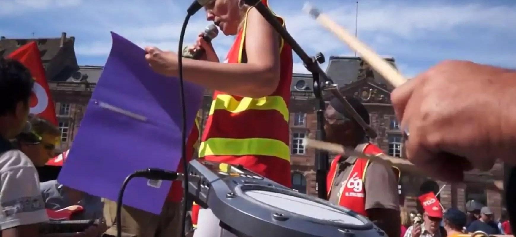 Avec les musiciens de combat, sur le camion-sono de la CGT