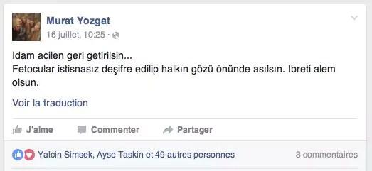 Post publié sur Facebook par Murat Yozgat le 16 juillet 2016 à 10h25.