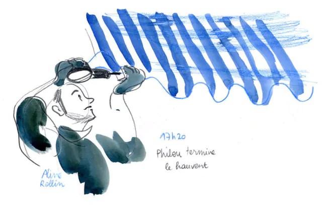 Philou termine le hauvent / Live sketching (Illustration Aline Rollin)