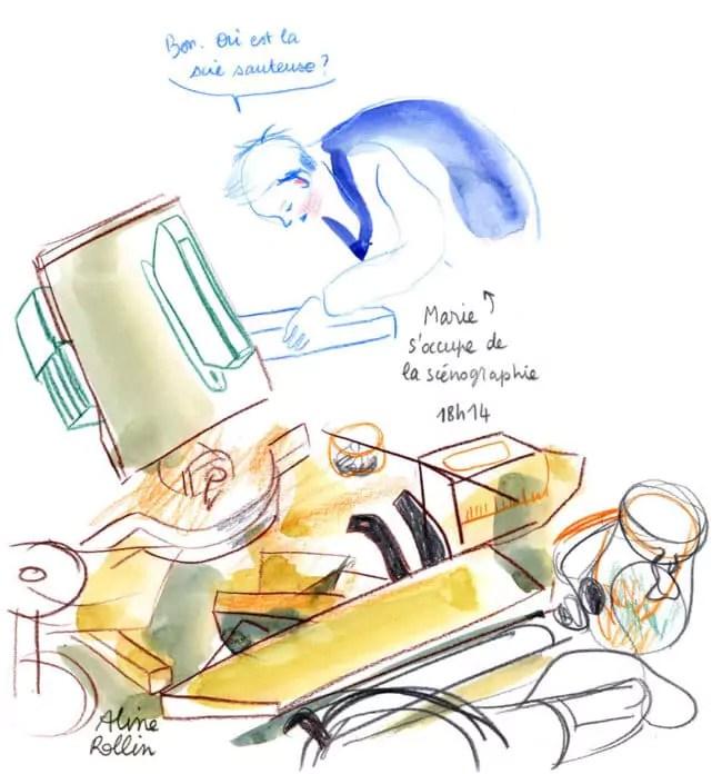 Marie s'occupe de la scénographie / Live sketching (Illustration Aline Rollin)