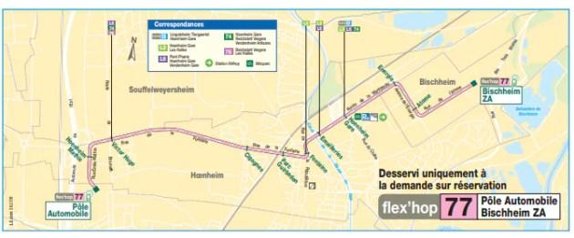 La ligne Flex'hop 77 entre le pôle automobile de Souffelweyersheim et la zone d'activité de Bisccheim ne fonctionne que sur réservation au 0800 800 169 - appel gratuit (document CTS)