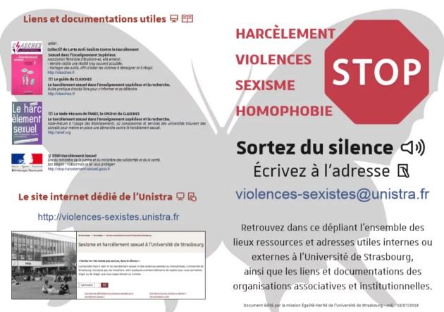 L'Université de Strasbourg a distribué des tracts à la rentrée pour faire connaître sa nouvelle cellule d'écoute (Document remis)