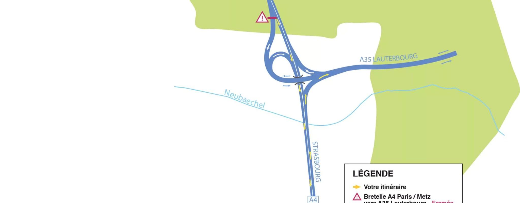 Fermeture de la bretelle de l'A4 vers l'A35 du 5 au 23 novembre pour les travaux du GCO