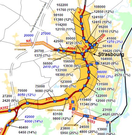 Le trafic journalier moyen sur l'A35 en 2016 (source Dir Est)