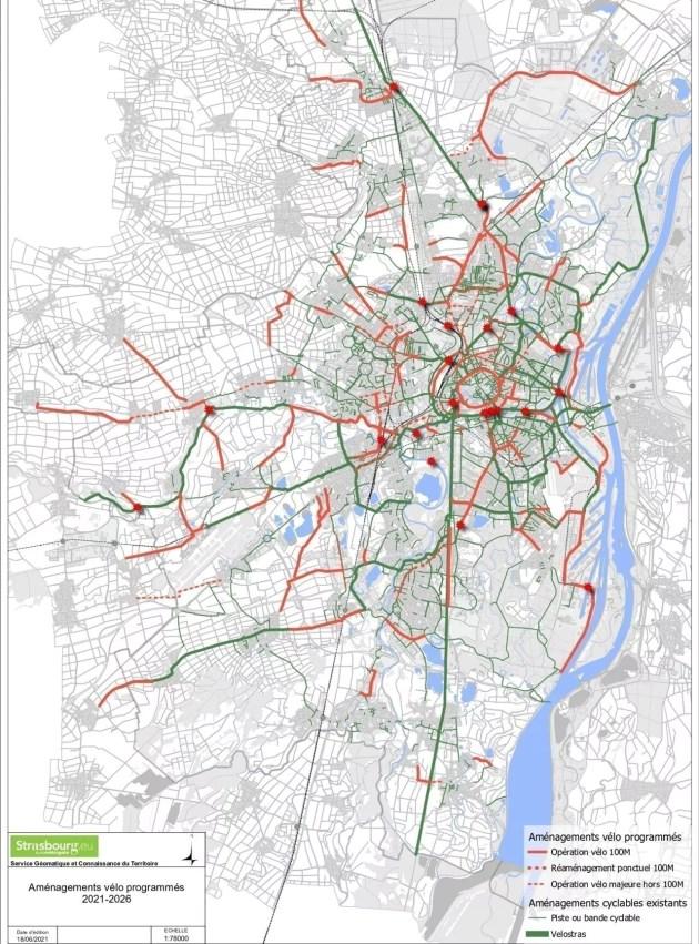 plans des aménagements velo à Strasbourg