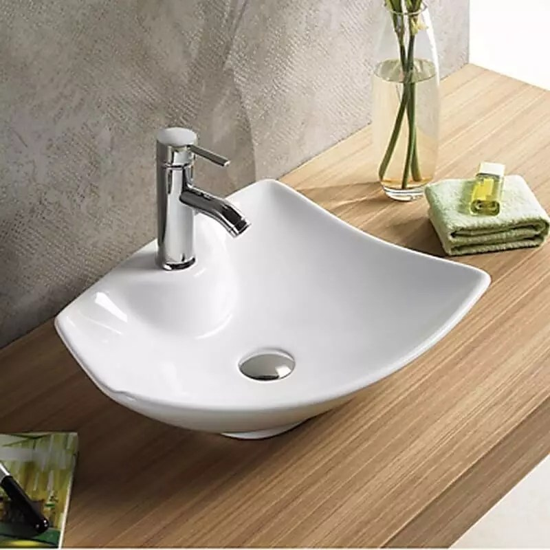 Vasque Asymetrique A Poser Ceramique Blanche Feuille Rue Du Bain