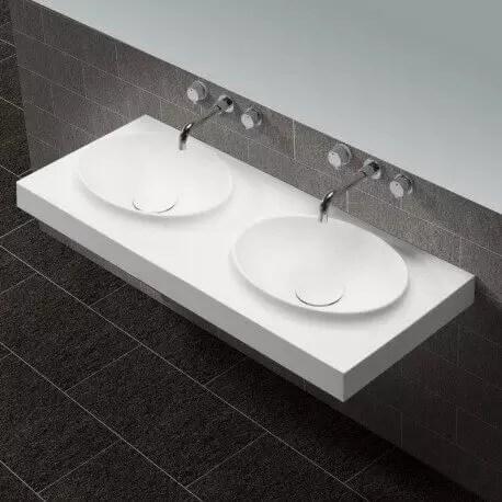 lavabo suspendu double vasque moulees solid surface blanc mat 120x50 cm origin