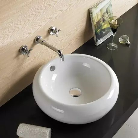 Vasque A Poser Galet Ceramique Blanche 43 Cm Ove