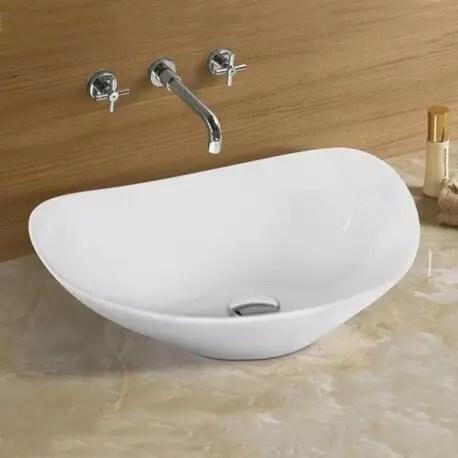 Vasque A Poser Ovale Vente De Vasques Ceramique Blanches Motion