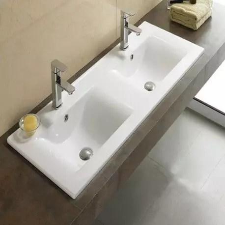 Lavabo Double Vasque Space Vasque A Encastrer Ceamique Rue Du Bain