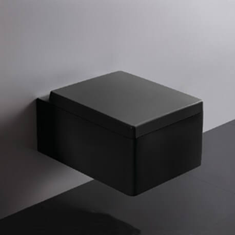 wc suspendu rectangulaire avec abattant ceramique noir brillant 52x39 cm kube