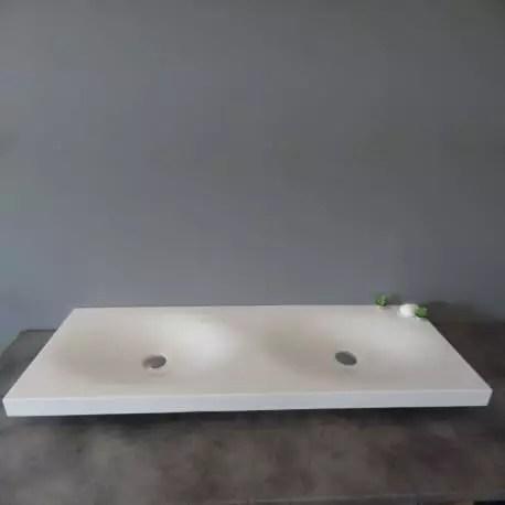 lavabo suspendu double vasque solid surface blanc mat 120x45 cm epure