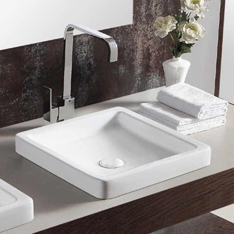 Vasque Semi Encastre Carre 40x40 Cm Cramique Blanche