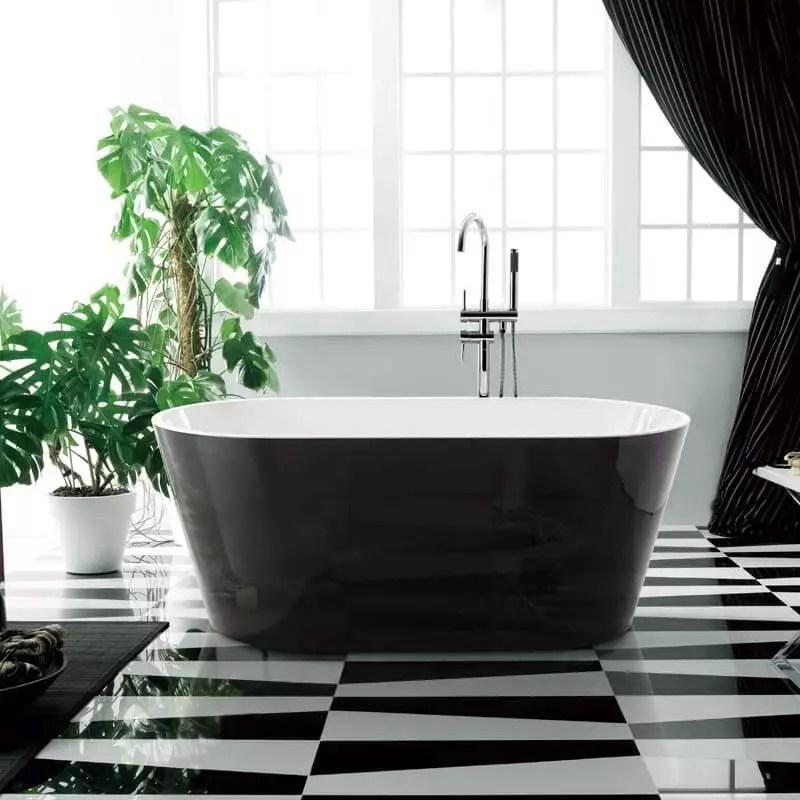 baignoire ilot ovale acrylique noir et blanc 170x80 cm seville