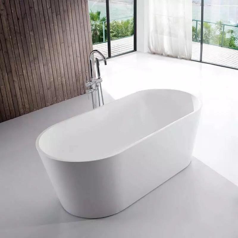 baignoire ilot ovale acrylique blanc 170x80 cm milan
